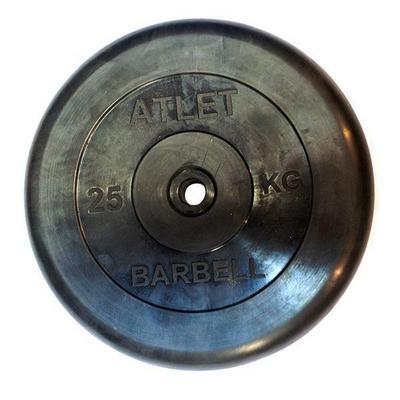 Диски обрезиненные, чёрного цвета 25 кг