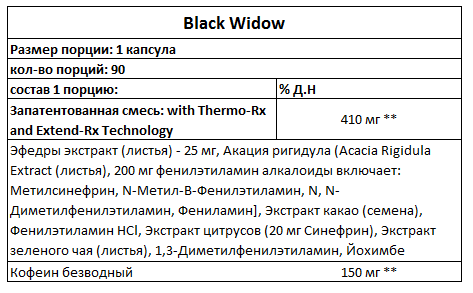 Black Widow Hi-Tech инструкция