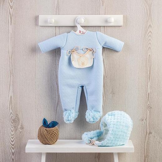 Теплый комплект одежды в голубом цвете на кукол ASI 46 см