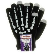 """Перчатки для сенсорных экранов черные """"Скелет"""""""