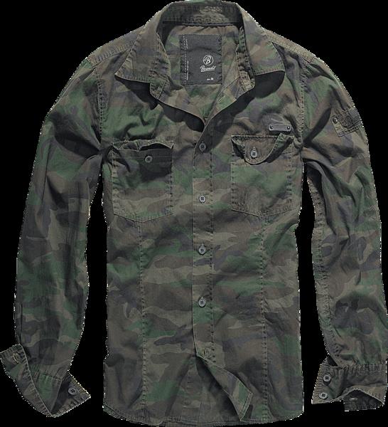Уточнять наличие - SlimFit Shirt woodland рубашка камуфляжной расцветки темно-зеленого цвета