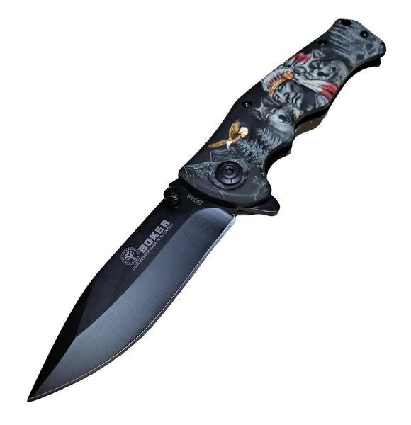 Нож складной BOKER Индеец, волки