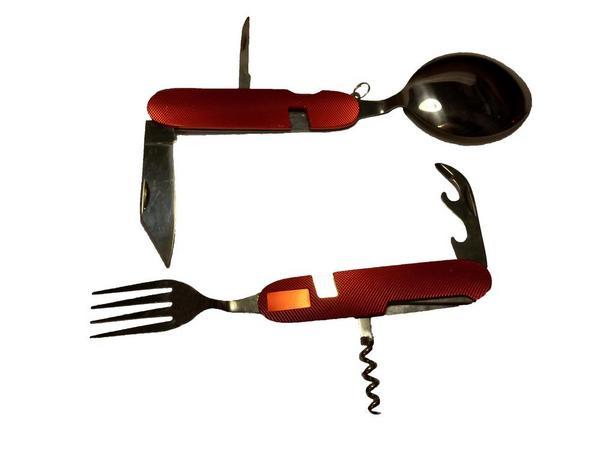 Набор столовых приборов туристический складной  (ложка, вилка нож, штопор, открывашка 2шт)