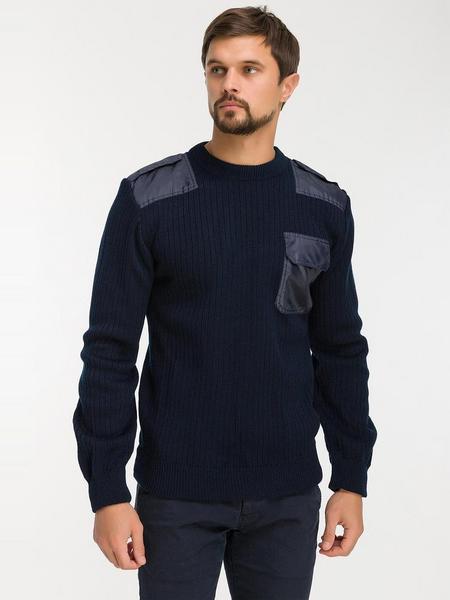 Свитер форменный темно-синий 30% шерсть, с нагрудным карманом