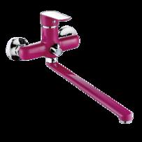 Смеситель для ванны LEMEN LС-2213P ф35 с длинным изливом, розовый