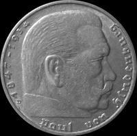 2 марки 1939 D Германия. Гинденбург. Третий Рейх.