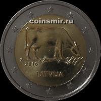 2 евро 2016 Латвия. Корова.