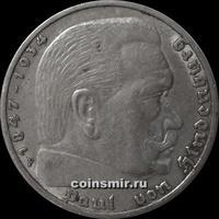 5 марок 1936 F Германия. Гинденбург.