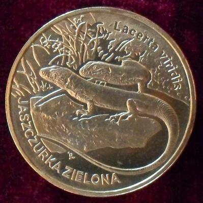 2 злотых 2009 Польша. Зелёная ящерица.