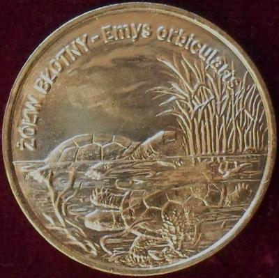 2 злотых 2002 Польша. Болотная черепаха.