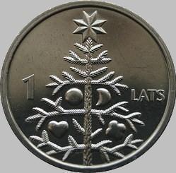 1 лат 2009 Латвия. Рождественская ель.
