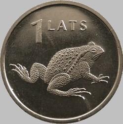 1 лат 2010 Латвия. Жаба.