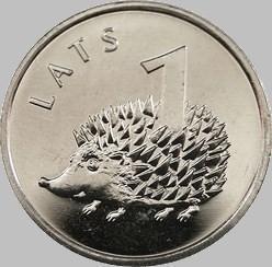 1 лат 2012 Латвия. Ёжик.