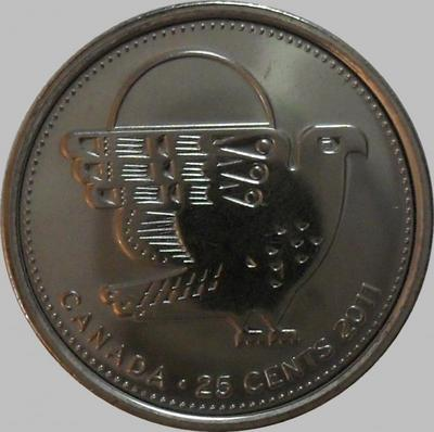 25 центов 2011 Канада.Сокол.