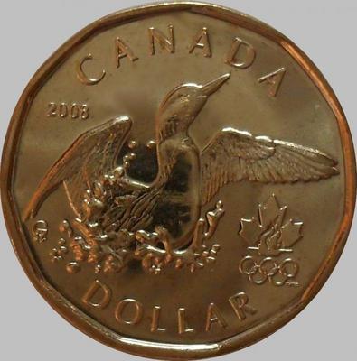 1 доллар 2008 Канада. Олимпиада в Ванкувере.