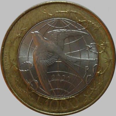 1000 лир 2000 Сан-Марино. Свобода. Ласточка над земным шаров.