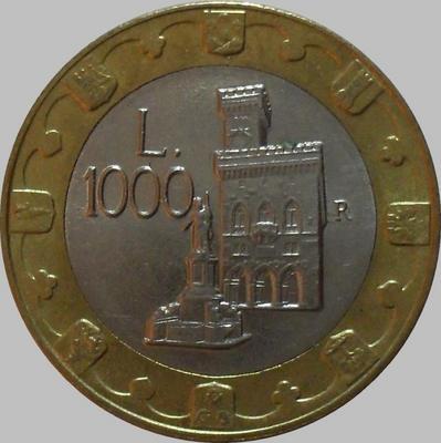 1000 лир 1997 Сан-Марино. Статуя свободы и общественный дворец.
