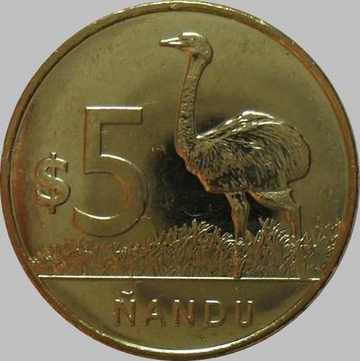 5 песо 2011 Уругвай.Страус.