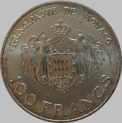 100 франков 1982 Монако. Князь Монако Ренье III. Наследник принц Альберт.