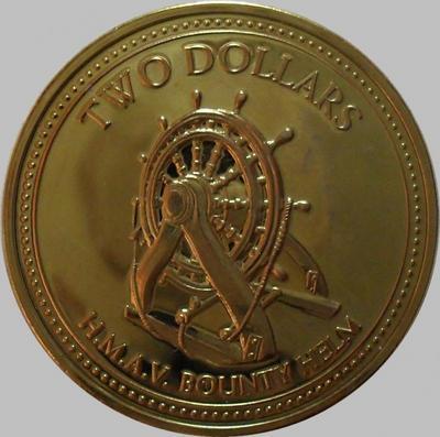 2 доллара 2009 острова Питкэрн. Корабельный штурвал.