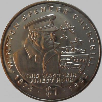 1 доллар 1995 Либерия. Уинстон Черчилль.
