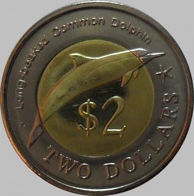 2 доллара 2012 Микронезия. Дельфин.