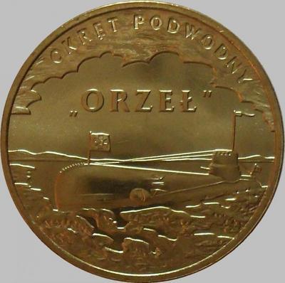 """2 злотых 2012 Польша. Подводная лодка """"Орел""""."""