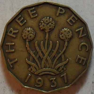 3 пенса 1937 Великобритания.