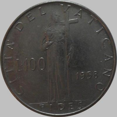 100 лир 1958 Ватикан.
