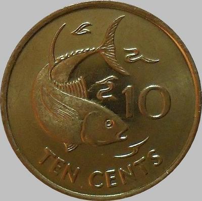 10 центов 2007 Сейшельские острова. Тунец. (в наличии 2012 год)