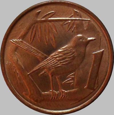 1 цент 2002 Каймановы острова. Дрозд.