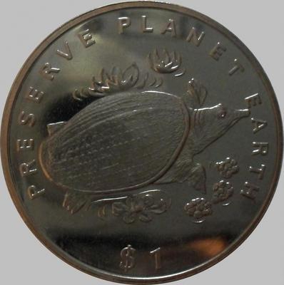 1 доллар 1994 Либерия. Черепаха.