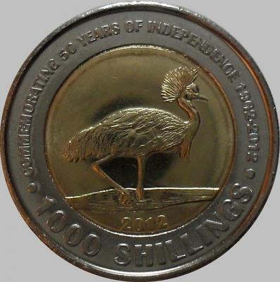 1000 шиллингов 2012 Уганда. 50 лет независимости.