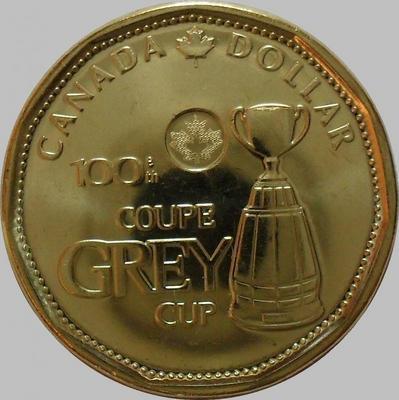 1 доллар 2012 Канада. Футбол. 100 лет кубку Грея.