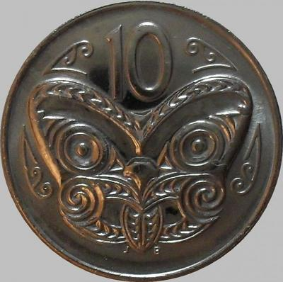 10 центов 1989 Новая Зеландия. Маска Маори.