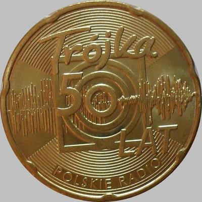 """2 злотых 2012 Польша.  50 лет Польскому радио """"Тройка""""."""