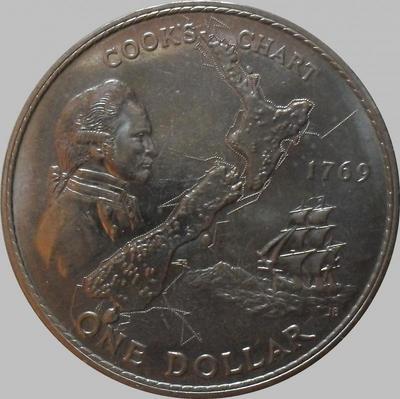 1 доллар 1969 Новая Зеландия. 200-летие путешествия Джеймса Кука.