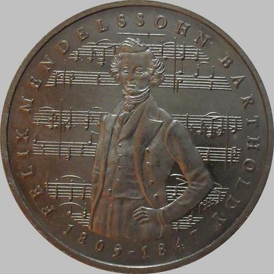 5 марок 1984 J ФРГ. 175 лет со дня рождения Феликса Мендельсона.