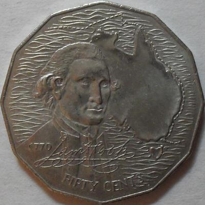 50 центов 1970 Австралия. Джеймс Кук.