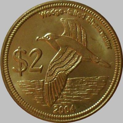 2 доллара 2004 Кокосовые острова. Клинохвостый буревестник.