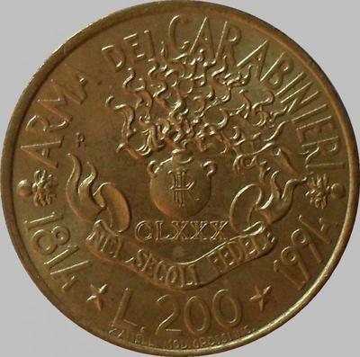 200 лир 1994 Италия. 180 лет карабинерам.