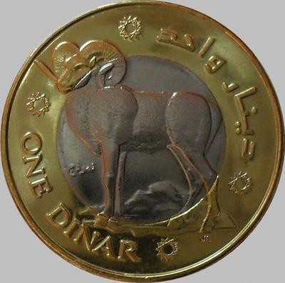 1 динар 2010 Палестина. Архар (горный баран).