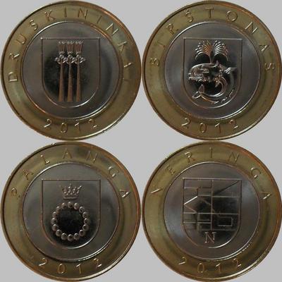 Набор монет 2012 Литва. Курорты.