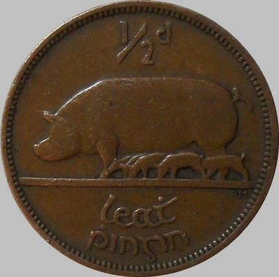 1/2 пенни 1942 Ирландия. Свинья с поросятами.
