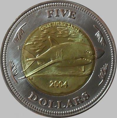 5 долларов 2004 Кокосовые острова. Большая белая акула.