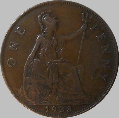 1 пенни 1928 Великобритания.