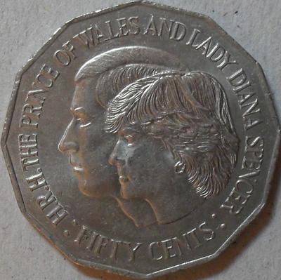 50 центов 1981 Австралия. Свадьба принца Чарльза и леди Дианы.