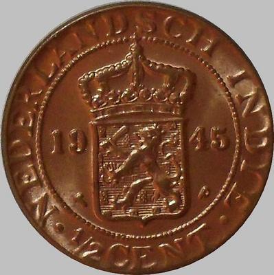 1/2 цента 1945 Нидерландская Индия.