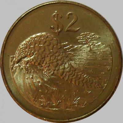 2 доллара 2001 Зимбабве. Панголин-степной ящер.