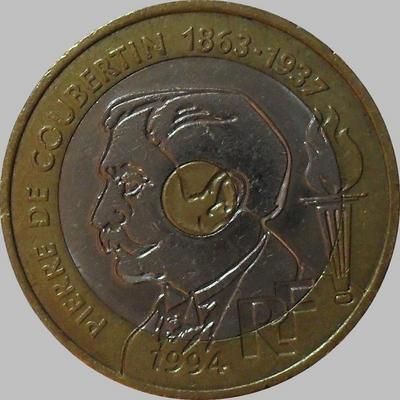 20 франков 1994 Франция. Пьер де Кубертен.